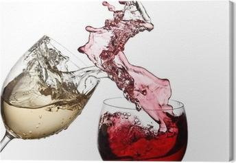 Quadro em Tela Red and white wine up together