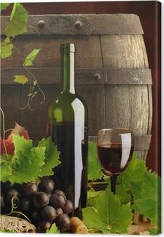 Quadro em Tela Red wine still life with cask