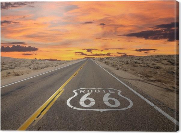 Quadro em Tela Route 66 Pavement Sign Sunrise Mojave Desert - Temas