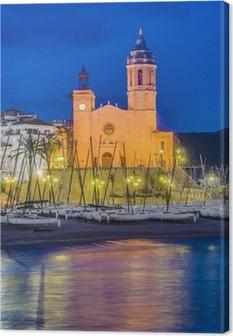 Quadro em Tela Sant Bartomeu i Santa Tecla church at Sitges, Spain
