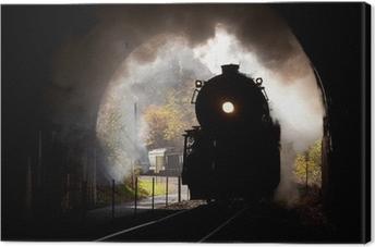 Quadro em Tela Steam locomotive enters tunnel