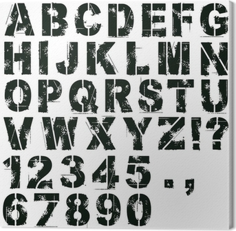 Quadro em Tela Stencil Letters and Numbers