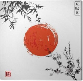 Quadro em Tela Sun, bambu e sakura em flor. Japonês tradicional pintura a tinta sumi-e. Contém hieróglifo - double sorte.