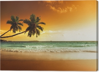 Quadro em Tela sunset on the beach of caribbean sea