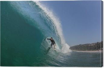 Quadro em Tela Surfing Tube Ride Large Wave