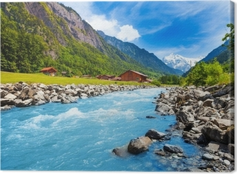 Quadro em Tela Swiss landscape with river stream and houses