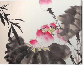 Quadro em Tela Tinta pintura de lótus desenhado à mão