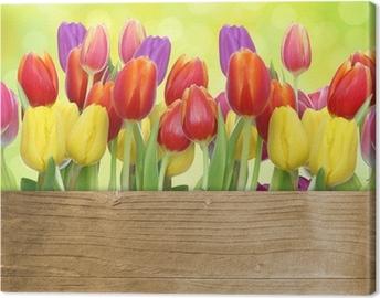 Quadro em Tela Tulpen mit Holztafel