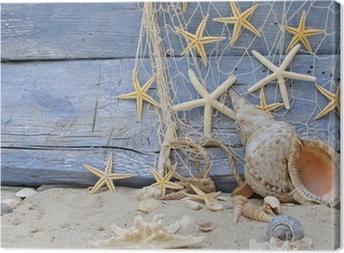 Quadro em Tela Urlaubserinnerung: Posthornschnecke, Seesterne und Fischernetz