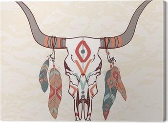 Quadro em Tela Vector illustration of bull skull with feathers