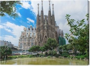 Quadro em Tela view of Sagrada Familia in Barcelona. Spain