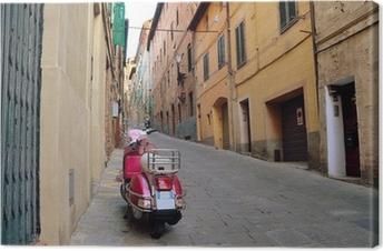 Quadro em Tela Vintage scene with Vespa on old street, siena, italy