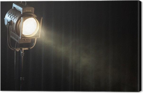 Quadro Em Tela Vintage Theatre Spot Light On Black Curtain With Smoke
