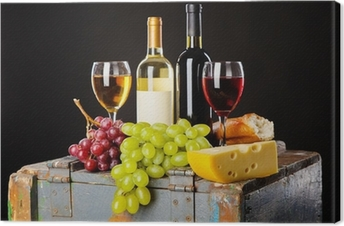 Quadro em Tela Wine, grapes and cheese