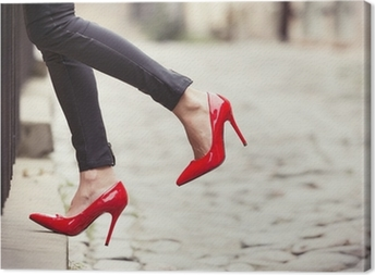 Quadro em Tela Woman wearing black leather pants and red high heel shoes