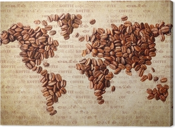 Quadro em Tela World Map Of Coffee Beans