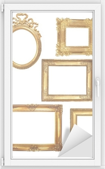 Raamsticker 5 oude houten frames op een witte achtergrond gouden