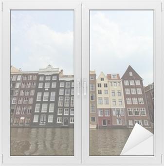 Raamsticker Amsterdamse grachtenpanden