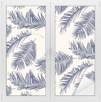 Raamsticker Blauw palmbladenpatroon