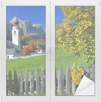 Raamsticker Dorp in herfst Zuid-Tirol