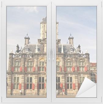 Raamsticker Historische Stad van Delft, Nederland