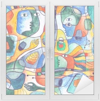 Raamsticker Kubistische naadloze patroon met lijnen en gezichten geschilderd in aquarel.