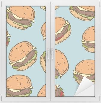 Raamsticker Naadloze patroon met smakelijke hamburger
