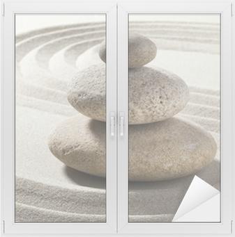 Raamsticker Zen tuin met zand en kiezels