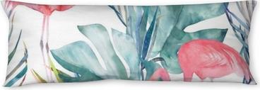 Relaxační polštář Tropické bezproblémové vzorek s plameňáci a listy. akvarel letní tisk. exotické ručně kreslené ilustrace