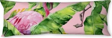 Relaxační polštář Tropické listy, hustá džungle. banán palmové listy bezešvé akvarel ilustrace tropické růžové plameňáci ptáků. trendový vzor s tropickým letním motivem. exotické havaj umění pozadí.