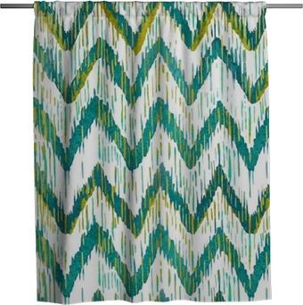 Rideau de douche Aquarelle ikat chevron pattern. aquarelle vert et bleu. collection ethnique de Bohême.