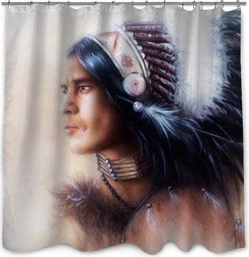 Rideau de douche Belle peinture d'un jeune guerrier indien portant un magnifique