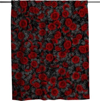 Rideau de douche Fond de roses à feuilles sombres / 3d illustration de motif de roses à feuilles noires abstrait