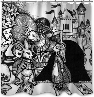 Rideau de douche L'alice au pays des merveilles histoire dessinés à la main contour avec texture isolé sur fond blanc