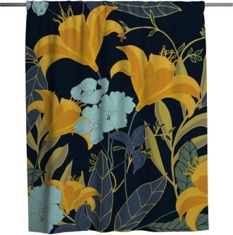 Rideau de douche Modèle abstrait élégance avec fond floral.