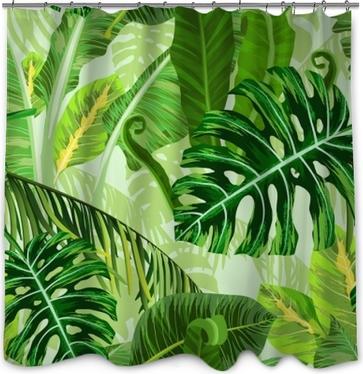 Rideau de douche Modèle sans couture avec des feuilles de palmiers tropicaux