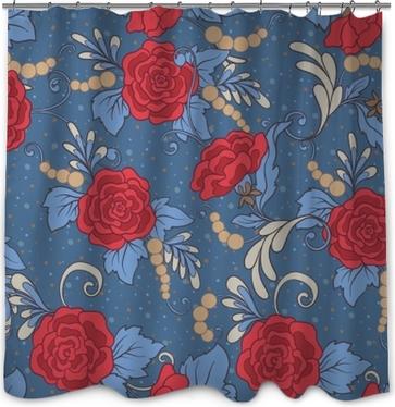 Motif floral sans soudure, fond avec des fleurs de style vintage dans les couleurs rouges et bleus. illustration vectorielle de ligne de stock. Rideau de Douche