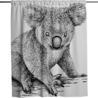 Rideau de douche Noir et blanc graver illustration de koala isolé