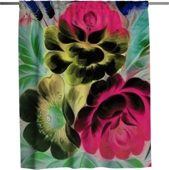 Rideau de douche Peinture à l'huile, style impressionnisme, peinture de texture, fleur nature morte peinture art peint image couleur,