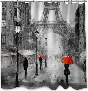 Peinture à l'huile sur toile, vue de Paris. ouvrages d'art. tour Eiffel . les gens sous un parapluie rouge. arbre. France Rideau de Douche