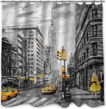 Sticker Peinture à l\'huile sur toile, vue sur la rue de new york ...