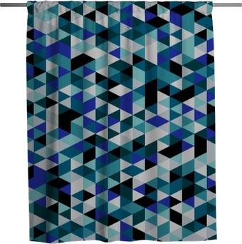 Rideau de douche Retro seamless style triangle. triangles Aléatoirement couleur, mise en page verticale. Couleurs océan. Résumé géométrique vecteur de fond.