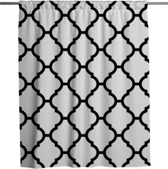 Rideau de douche Seamless moroccan en noir et blanc
