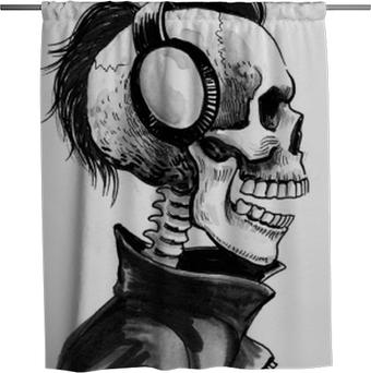 Rideau de douche Squelette dans les écouteurs