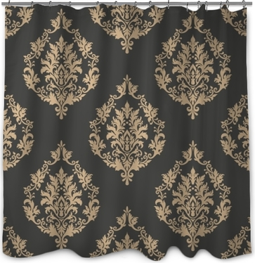 Rideau de douche Vecteur damassé sans soudure de fond. ornement damassé démodé de luxe classique, texture transparente victorienne royale pour fonds d'écran, textile, emballage. exquis modèle baroque floral