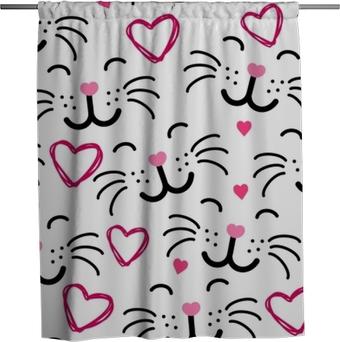 Rideau de douche Vecteur de chat mignon visage de modèle sans couture