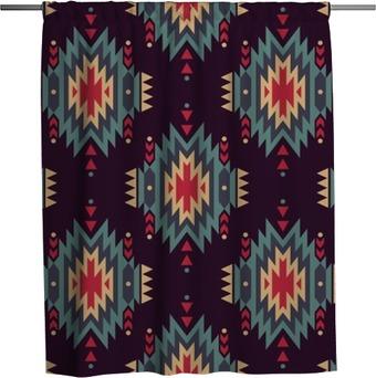 Rideau de douche Vector seamless ethnique décoratif. motifs indiens américains. Arrière-plan avec ornement tribal aztec.