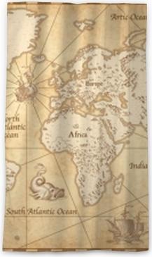 Rideau occultant Carte du monde illustré vintage