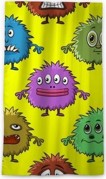 Fond Transparent Pour Votre Conception Avec Différents Monstres De Dessin Animé Motif De Carreaux Coloré Avec Des Personnages Drôles Mignons Vecteur