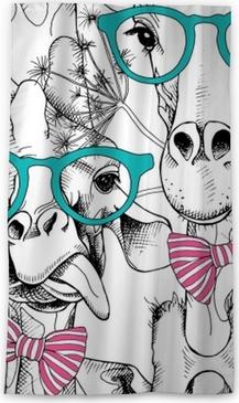 Rideau occultant Modèle sans couture avec des girafes dans les verres et avec un arc. illustration vectorielle